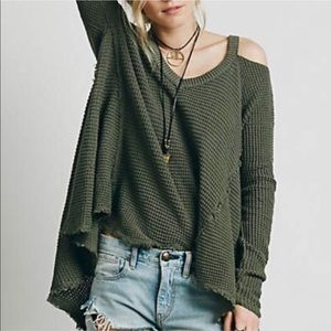 Free People Green Waffle Cold Shoulder Sweater XS
